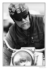 Easy Rider (Seven_Wishes) Tags: newcastleupontynenortheast northshields tyneandwear jo 2019 outdoor photoborder canoneos5dmarkiv canonef100400mmf4556lisii people candid bikers music portraits dof depthoffield streetportraitsbw blackandwhite mono goatie monochrome skidlid helmet crashhelmet leathers leatherwaistcoat sunglasses newcastleupontyne uk views3k