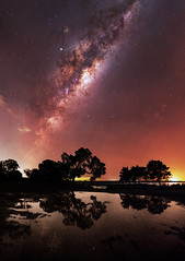 Milky Way at Herron Point, Western Australia (inefekt69) Tags: herron point collins pool mandurah water panorama stitched mosaic msice milky way cosmology southern hemisphere cosmos western australia dslr long exposure rural night photography nikon stars astronomy space galaxy astrophotography outdoor core great rift ancient sky 35mm d5500 landscape tree silhouette airglow tracked ioptron skytracker milkyway reflections