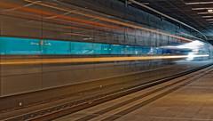 Ghost Train @ City-Tunnel Leipzig (MR-Fotografie) Tags: leipzig city tunnel train light licht zug sbahn talent2 nikon d500 nikkor 1680mm mrfotografie sachsen saxony yellow blue blau gelb streifen stripe perfect x flickr explore stream lightstream