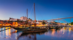 _DSC6954 - Rabelo boats of Porto (AlexDROP) Tags: 2019 portugal porto europe art travel architecture color cityscape skyline water river boat bridge bluehour nikond750 tamronaf1735mmf284diosda037 best iconic famous mustsee picturesque postcard panoramic