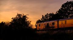 Test train (Peter Leigh50) Tags: train trees track sunset railway railroad rail rural fujifilm fuji xt2 class 73 739 gbrf