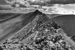 Striding Edge (l4ts) Tags: landscape cumbria lakedistrict easternfells stridingedge helvellyn stsundaycrag ridge cloudscape clouds blackwhite monochrome