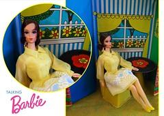 TALKING BARBIE AT HOME (ModBarbieLover) Tags: talking barbie doll mattel fashion mod vintage 1971 sears housemates blue yellow shirtdress toy case