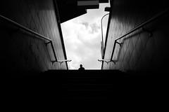 Head first (maekke) Tags: zürich selnau perspective pointofview pov bw noiretblanc streetphotography 35mm fujifilm x100f 2019 ch switzerland szu trainstation publictransport humanelement symmetry