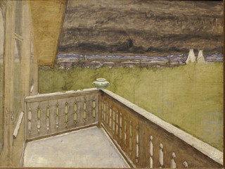 Harald Sohlberg, Winter auf dem Balkon - Winter on the balcony