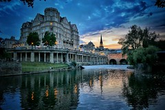 City sunset, Bath (Nige H (Thanks for 20m views)) Tags: landscape nature sunset river riveravon cityscape bath cityofbath pulteneybridge pulteneyweir theempire england visitengland visitbath reflecition sky cloud bluehour goldenhour architecture historiccity