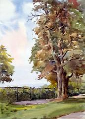 Rosetta McClain Garden 7, Plein Air, 2019-07-28 (light and shadow by pen) Tags: watercolor landscape toronto art pleinair