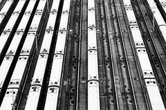 Trains, Hudson Yards, New York (jev) Tags: lovesunitedbnw manhattan artq bnwcaptures bnwmagazine bnwonly bnwframing cityscapesnyc concept concepts conceptual everythingbnw geometric geometry gonewyorkcity hudsonyards igweekbnw jjblackwhite lovesnyc mafiabwlove monochrome mydailybnw newyork nycexplorers nycprimeshot pattern simplynoirblanc subway subwaystation thetube theunderground trains transport transportation uphigh whatisawinnyc