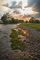 After the Storm2 (vincocamm) Tags: cumbria rivereamont eamont river water grass sky sun sunburst rays sunrays crepuscular green orange trees rocks pebbles july summer afterthestorm