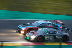 Late on the brakes, 24 hours of Spa Francorchamps, 2019 (Thibault Gaulain) Tags: nikon d7200 tamron 100 400 100400 belgium belgique spa francorchamps circuit track sport course race racing voiture car auto automobile outdoor outside blancpain endurance series sro battle fight intercontinental gt challenge pirelli tyre tyres wing racecar downforce 2019 24 24h heures pluie rain weather wet pro am proam water été summer clouds fence gt3 overtaking overtake glowing brakes braking late audi r8 attempto bmw m6 walkenhorst bus stop chicane
