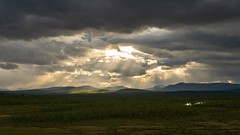 Sunshine and mountains. (bholmbom81) Tags: summer sun mountains nature clouds forrest kiruna midnightsun phenomen rautas bjornholmbom björnholmbom