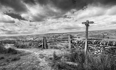 Favourite places.... (Lindsey1611) Tags: chinley highpeak derbyshire drystonewall footpath signpost sign countryside hills view england bridleway junction gate fields sky summer walking hillwalking winningatlife