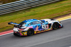 Mercedes AMG GT3, 24 hours of Spa Francorchamps, 2019 (Thibault Gaulain) Tags: nikon d7200 tamron 100 400 100400 belgium belgique spa francorchamps circuit track sport course race racing voiture car auto automobile outdoor outside blancpain endurance series sro battle fight intercontinental gt challenge pirelli tyre tyres wing racecar downforce 2019 24 24h heures pluie rain weather wet pro am proam water été summer clouds fence gt3 mercedes amg fate anime character black falcon bruxelles rivage hairpin v8