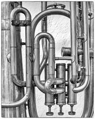 Tubes of a Tuba, b/w (Jack Heald) Tags: tuba tubes musical instrument brass bw blackandwhite graphic heald jack sony rx100 rx100m6 rx dscrx100 antique store atlanta kudzuantiques east ponce de leon ave decatur ga georgia