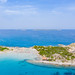 Aerial view of Punta Molentis Beach in Sardinia with a view to the island of Serpentara, Italy