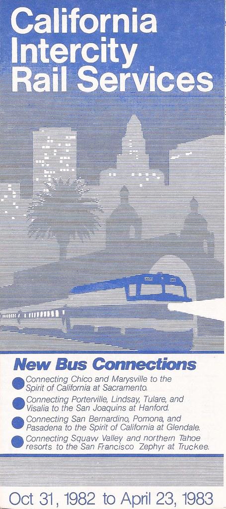 1982 to Apr 23 1983 California Intercity Rail Timetable Amtrak Oct 31