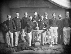 Successful pot hunters (National Library of Ireland on The Commons) Tags: ahpoole arthurhenripoole poolecollection glassnegative nationallibraryofireland rowingcrew winners trophies eight sweepoars