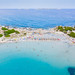 Aerial view of the beach of Punta Molentis on the island of Sardinia, Italy