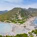 Der Strand von Punta Molentis mit Blick auf das Sarrabus-Gebirge auf Sardinien, Italien