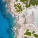 Top-down aerial view of Punta Molentis Beach in Sardinia, Italy