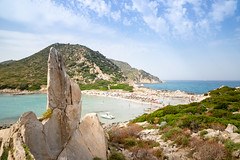Granite rock in Punta Molentis in Sardinia, Italy
