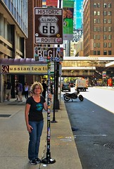 Only the beginning, only just the start  (of Route 66) (Lights in my hometown) Tags: adamsstreet chicago illinois route66 beginning beginnings sign motherroad start us highway 66