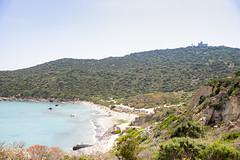 Luftbild vom Strand Capo Carbonara auf Sardinien, Italien