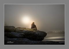 Waiting For The Sun (windshadow2) Tags: girl sunrise beach fog haze foggy sun fuji xt1 coast shore shoreline middletown ri usa portrait moody atmosphere