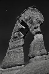 Oh Moon How You Hang So High Above a Delicate Arch (Black & White, Arches National Park) (thor_mark ) Tags: 18m 60foot 60 archesnationalpark azimuth230 blackwhite blueskies canvas canyonlands capturenx2edited centralcanyonlands colorefexpro coloradoplateau day6 delicatearch delicatearchtrail desert desertlandscape desertmountainlandscape highdesert hiketodelicatearch intermountainwest landscape layersofrock lookingsw moon naturalarch naturalarches nature nikond800e outside portfolio project365 rockformations silverefexpro2 sunny utahhighdesert utahnationalparks2017 ut unitedstates