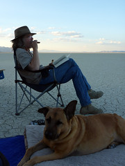 It's what we do out there (simonov) Tags: black rock desert playa man hat cigar akubra bella dog hund chien 狗 σκύλοσ madra cane 犬 perro 개 سگ собака الكلب germansheprador simonov