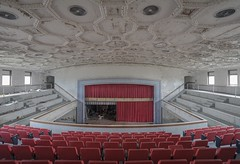 """""""The red was something none of them could contain."""" (Ewski Images) Tags: sony urbex curtain stage school auditorium theater explore exploration abandonedplaces abandoned decay"""