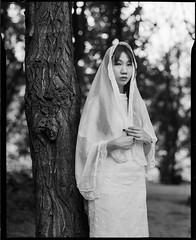 Style of Republican Era (Dongfei Ma) Tags: film analog portrait girl beauty monochrome largeformat 4x5 chaminix fomapan fomapan100 tree woman