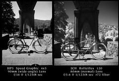 Bike at St. Johns Bridge 190777 (jimhairphoto) Tags: stjohns camera bridge blackandwhite 120 tlr blancoynegro film oregon rolleiflex america portland photography nw northwest documentary streetlife 4x5 hp5 schwarzweiss 90mm ilford théâtrederue naturalworld blancinegre speedgraphic remainsoftheday blancetnoir jch streetstories leftcoast jimhairphoto siyahrebeyaz japancamerahunter streetpan400 optarlens mfg1953