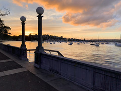 Sunset @ Rose Bay (Marian Pollock) Tags: sydney landscape sunset australia nsw water bay silhouette lights clouds boats reflection walkway