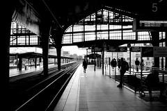 Friedrichstrasse Bahnhof (Douguerreotype) Tags: people monochrome tracks light blackandwhite deutschland train berlin germany mono architecture city silhouette urban rails bw station