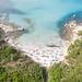 Aerial view of the Tower of Porto Giunco Beach (Spiaggia Torre Porto Giunco) in Sardinia, Italy