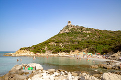 Beach of the Tower of Porto Giunco (Spiaggia di Porto Giunco) in Sardinia, Italy