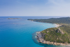 A view from the north on the Marine Protected Area of Capo Carbonara and the island of Cavoli (Isola dei Cavoli) in Sardinia, Italy