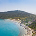 Aerial view of the rocky beach of Capo Carbonara in Sardinia, Italy