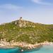 A view from the north to the Tower of Porto Giunco (Torre di Porto Giunco) in Sardinia, Italy