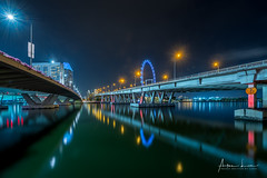 Blue Shine On Benjamin Shaeres Bridge I (Alec Lux) Tags: city longexposure bridge blue urban building tower skyline architecture night skyscraper marina buildings outside lights bay singapore cityscape exterior nightscape outdoor helix bluehour haida haidafilters benjaminshaeres