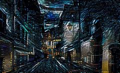Lens & Brush 3 (V_Dagaev) Tags: art architecture building digital blue dynamicautopainter visualdelights town street landscape painterly painting night