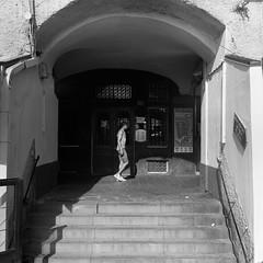 Sottoripa (IG: Ceche_Analogico) Tags: monochrome street shadow bw sovietcamera arsat80mmf28 italy genova architecture bnw blackandwhite citycenter film 120mm kiev60 ilford hp5 mediumformat 6x6 analog filmisnotdead