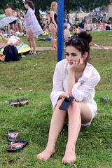 Waiting for him (piotr_szymanek) Tags: outdoor woman young skinny anonymous legs feet grass beach face 1k 20f 5k 50f 10k 100f portrait 20k