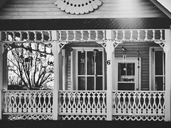 6 (Randall McRoberts) Tags: gingerbread house porch blackandwhite flare
