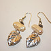 Precious emtal clay leaf with pearl earrings