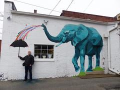 Unexpected downpour (wwimble) Tags: mural lafayette elephant umbrella barry paint squirt elephantintheroom cameronmoberg