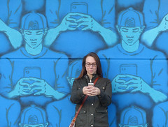 Life imitates art (wwimble) Tags: lafayette mural becky cellphone wabashwalls staygolden metabyte mitchellschuring