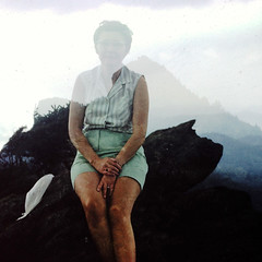 Mother Earth (fillzees) Tags: doubleexposure hill mountain woman rocky outdoor portrait seated sitting fx person shorts