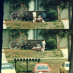 Playtime (fillzees) Tags: yard house playing mailbox diptych toys candid street bicycle hoop umbrella sidewalk shrub car automobile tree child